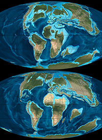 Map of the world 90 (top) and 65 (bottom) million years ago
