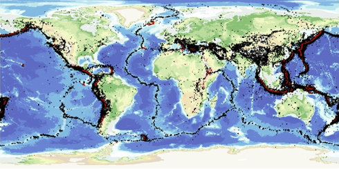 Map showing earthquakes and volcanoes around the world © NERC. All rights reserved.