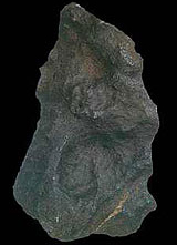 Iron meteorite showing dark fusion crust.