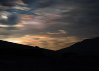 Spectacular nacreous clouds form in very cold temperatures (below -78°C) at very high altitudes (bet