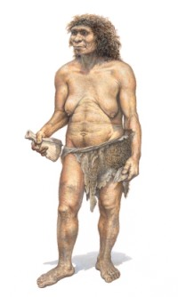 Illustration of a Neanderthal woman.