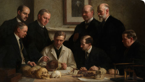 Oil painting of a famous meeting on 11 August 1913 at the Royal College of Surgeons