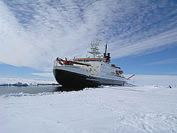 The ship berthed with port side against the floe © David N Thomas