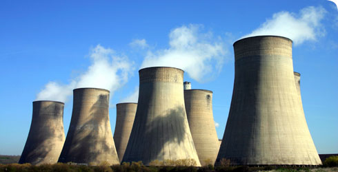 Cooling towers at a coal-fired power station.