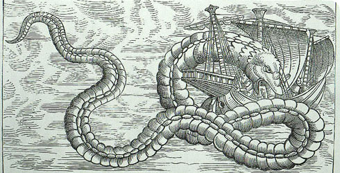 A drawing of the legendary sea serpent attacking a ship