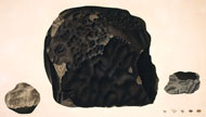 Engraving of meteorites, including the Wold Cottage meteorite, by James Sowerby, 1812
