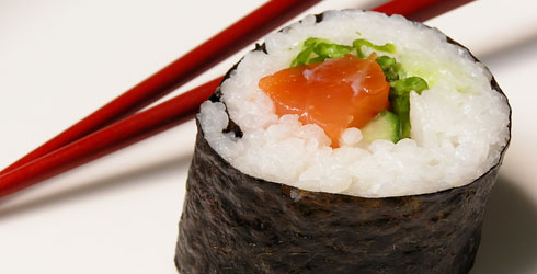 Sushi, a food made partly with seaweed