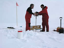 David Thomas and Christian Haas coring the ice © David N Thomas
