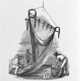An illustration of the crew of Challenger using a trawl net to find specimens from the sea bed