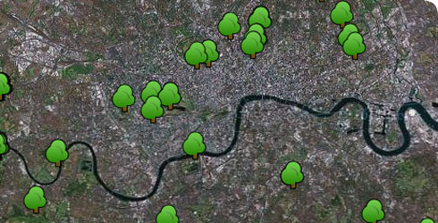 Some of the trees plotted so far on the urban tree survey results map