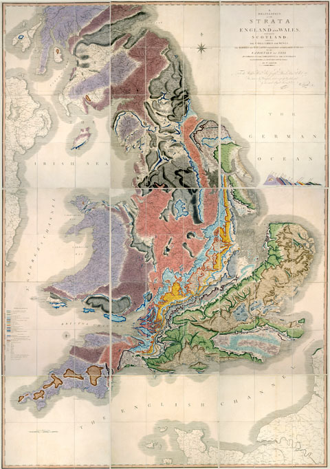 William Smith's map from 1815, showing the geology of England, Wales and part of Scotland