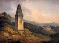Painting of the Wold Cottage landing site monument in Yorkshire, by George Nicholson, 1812