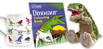 Dinosaur mug, roaring T.rex soft toy and Dinosaur Colouring Book