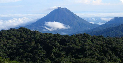 Arenal Volcano and vegetation in Costa Rica as seen from Monteverde
