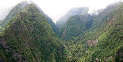 The mountainous interior of Réunion Island