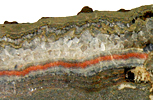 Typical Mississippi Valley-type lead-zinc mineralisation from Gloucestershire, UK.