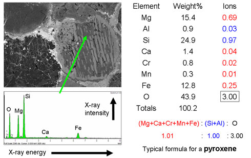 Image and analysis of a meteorite mineral