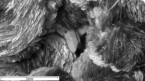 Scanning electron microscope image showing quartz and zeolite mineral crystals