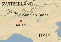 Map simplon tunnel Switzerland