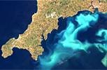 Aerial view of an algal bloom formed by coccolithophores off the coast of Cornwall