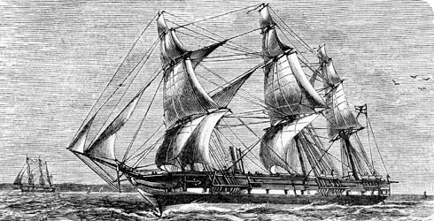 Engraved view of HMS Challenger (1872-1876)