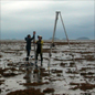 Museum researchers extracting sediment cores from the reef flat at King Reef, Queensland, Australia