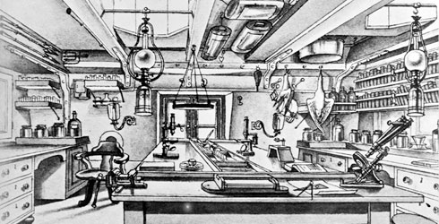 Drawing of the analysing room on board HMS Challenger