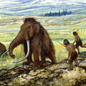 Illustration showing hominids hunting mammoths during the Pleistocene period