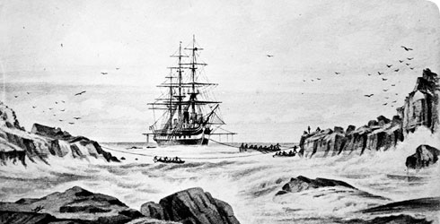 Drawing of HMS Challenger by John James Wild