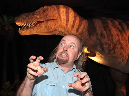 Bill Bailey gets a fright at the preview night for the Age of the Dinosaur exhibition opening 22 Apr