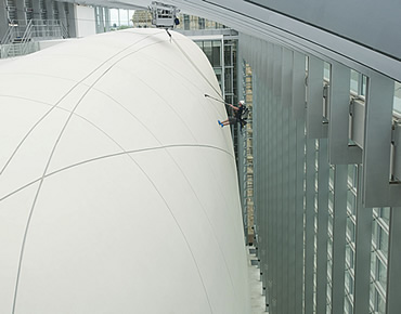Abseiling cleaners clean the 8-storey cocoon building in the Museum's new Darwin Centre