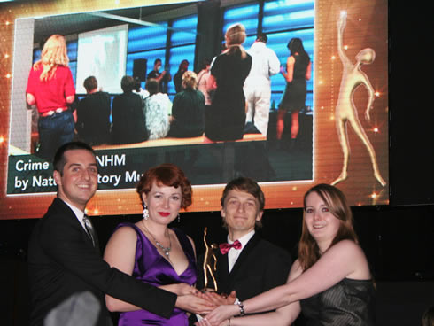 The Natural History Museum Crime Scene Live team collect the Gold Eventia award for Best Event in a