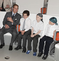 Prince William with children from The Royal Marsden in the Attenborough Studio