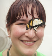Volunteer Samantha Kenton found the 2nd dual-sex butterfly at Sensational Butterflies