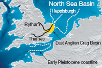 Map showing Happisburgh and coastline 800,000 years ago (dotted line)