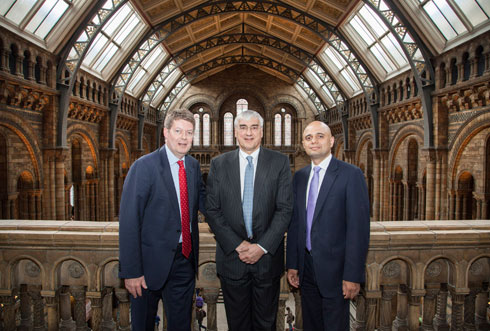 sir michael hintze with culture secretary and museum director