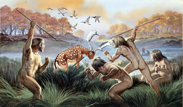 A painting of a scene of early Homo sapiens in England 250,000 years ago by Angus McBride.