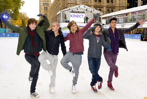 Boy band The Wanted on the Museum ice rink for the Kinect for Xbox 360 launch