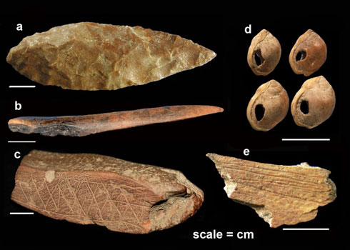 Symbolic artefacts from around 75,000 years ago unearthed from Blombos Cave, South Africa