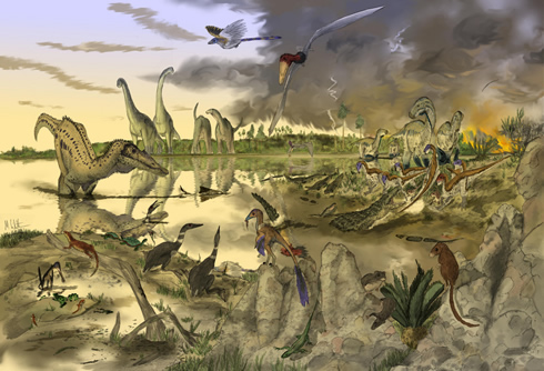 An illustration of a Cretaceous scene in the Isle of Wight