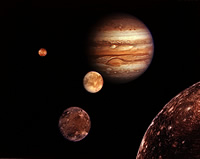 Jupiter and its four planet-size moons