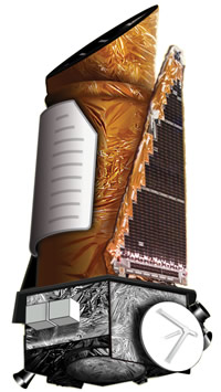 Artwork of the Kepler photometer instrument mounted on the Kepler spacecraft