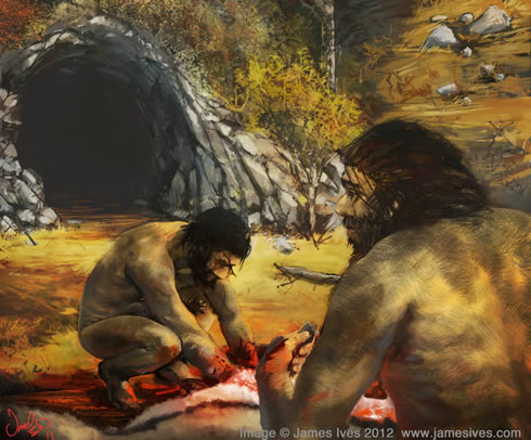 Digital painting of Neanderthals clinging on to life in a refuge as the climate deteriorated.