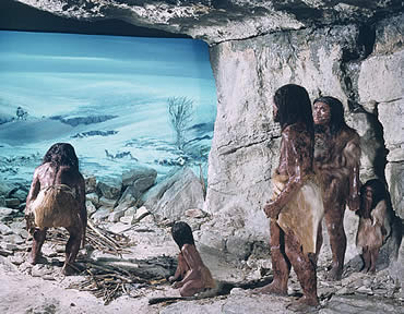 Scene showing a Neanderthal family