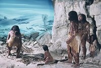 Illustration of a small group of Neanderthals
