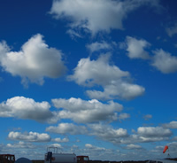 Record wind direction by watching the movement of clouds such as these cumulus clouds