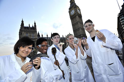 A team of 'scientists' outside Big Ben in London promoting the Natural History Museum's Science Unco