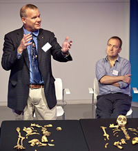 Professors Lee Berger and Chris Stringer at the A. sediba hand-over event