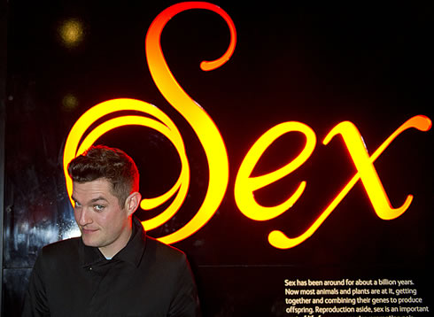 Mathew Horne at Sexual Nature preview, the Natural History Museum's new exhibition opens 11 Feb