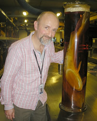 Ralf Britz with a sharksucker in the Museum's tank room